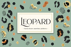 Leopard. Hand Drawn Seamless Pattern