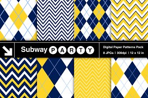 Navy & Yellow Chevron & Argyle