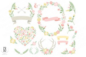 Flower wreaths pastel heart antlers