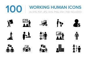 100 Working Human Icons