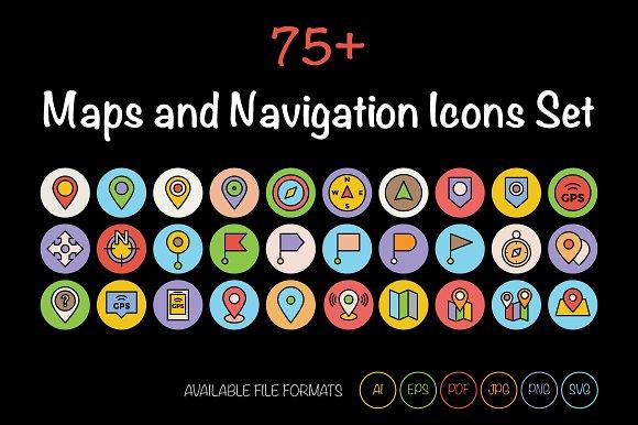 75+ Maps and Navigation Icons Set