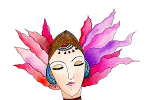 Beautiful girl, watercolor portrait