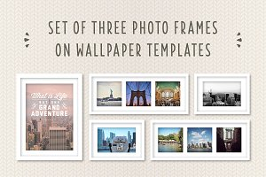 Photo Frames on Wallpaper Template