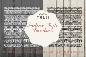 Indian Borders Clipart + PS Brushes