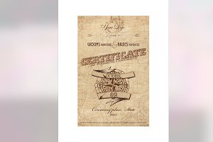 Steampunk wedding certificate PSD