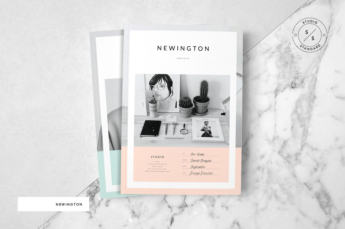 newington portfolio brochure templates creative market. Black Bedroom Furniture Sets. Home Design Ideas