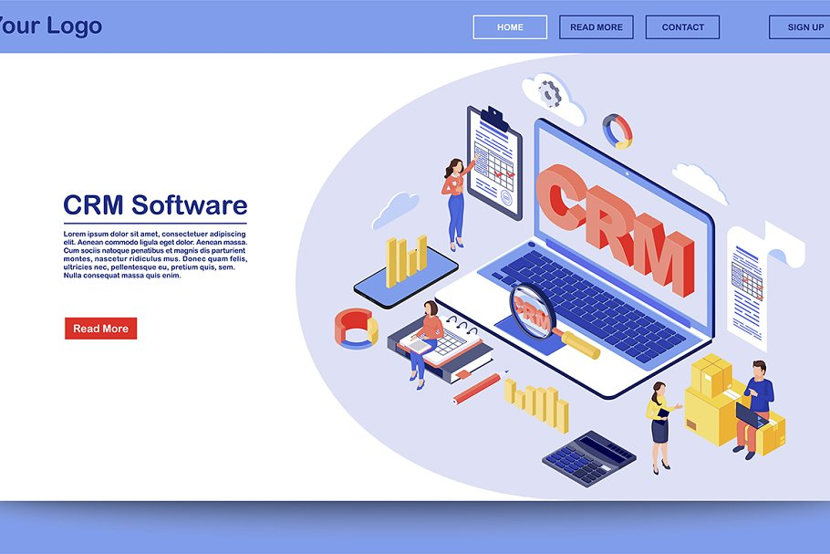 CRM software isometric landing page