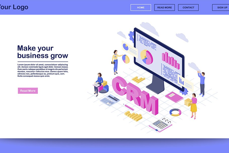 CRM for business landing page