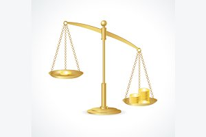 Justice Scales and Money. Vector
