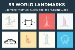 99 World Landmarks Illustration