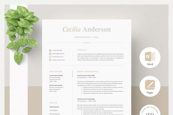 Two Page Resume Template from images.creativemarket.com