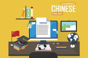 E-learning Chinese language.