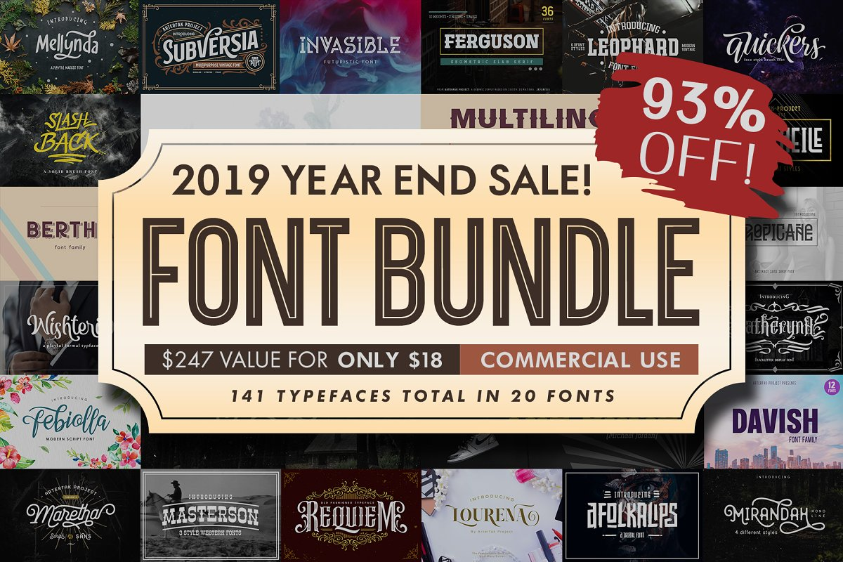 Font Bundle 2019 | 93%OFF in Display Fonts - product preview 21