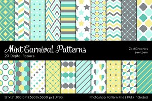 Mint Carnival Digital Papers