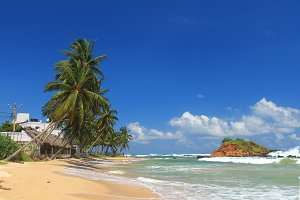 Beautiful beach in Mirissa,Sri Lanka