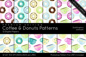 Coffee And Donuts Digital Papers