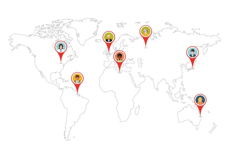 World Map Gps.People Pin Gps Location On World Map Illustrations Creative Market