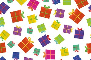 A lot of colorful gifts with ribbon