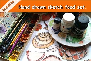 Hand drawn sketch food set.