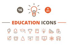 16 Line Icons. Education.