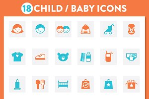 BABY CHILD KIDS ICON SET