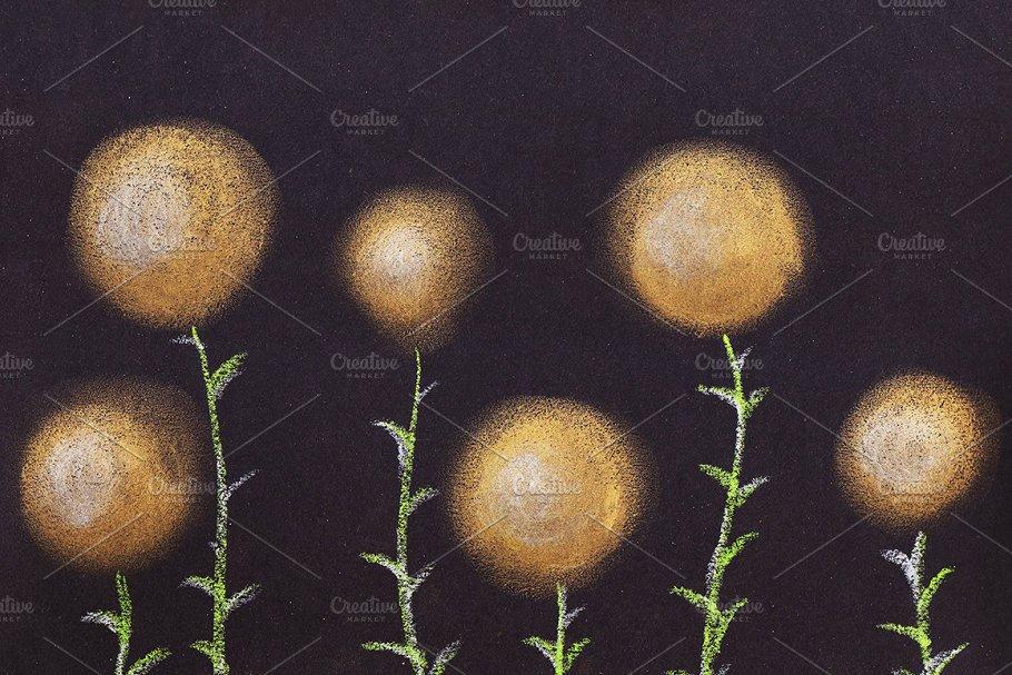 Oil pastels golden flowers