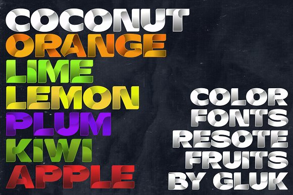 Color fonts ResotE-Fruits in Display Fonts - product preview 1