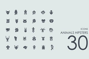 30 Animals Hipsters icons