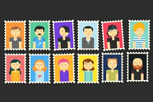 Minimalistic Flat Persons Stamps Set