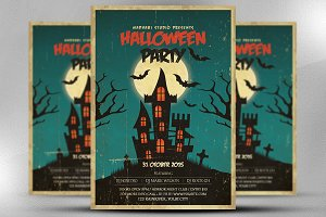 Vintage Halloween Party Flyer