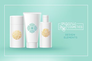 Organic cosmetics - badges and icons