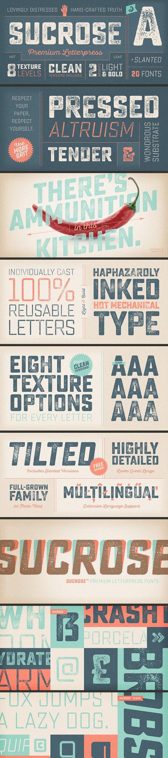 Sucrose Letterpress Font Family