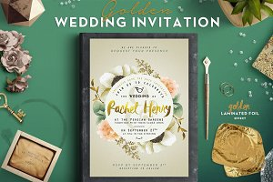 Golden Foil Wedding Invitation II