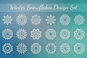 Winter Snowflakes Backgrounds Set