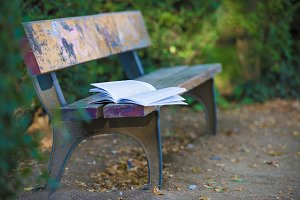 A book forgotten on a bench