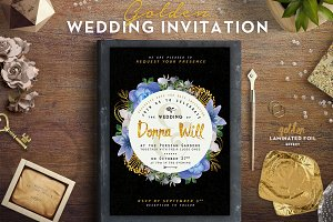 Golden Foil Wedding Invitation III