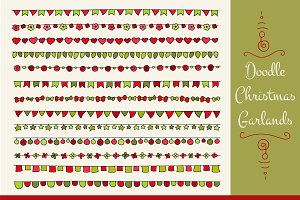 Set of doodle christmas garlands