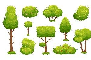 Cute Cartoon Tree On Grass Pre Designed Illustrator Graphics Creative Market Green grass on transparent vector. cute cartoon tree on grass pre