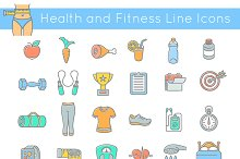 Flat Thin Line Fitness Icons
