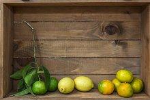 Ripe sweet lemon and tangerine with