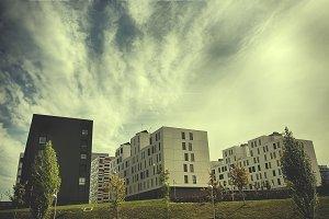 Facades of buildings