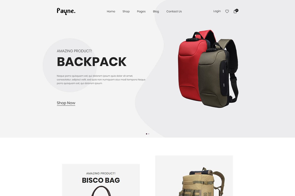Payne - Backpack eCommerce Template