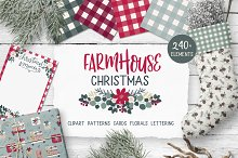 Farmhouse Christmas illustration