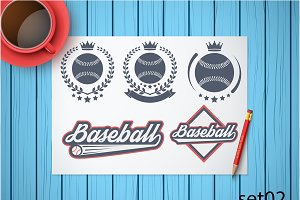 Set of Baseball Labels and Badges 02