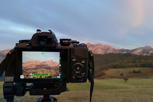 Taking landscape photos at sunset