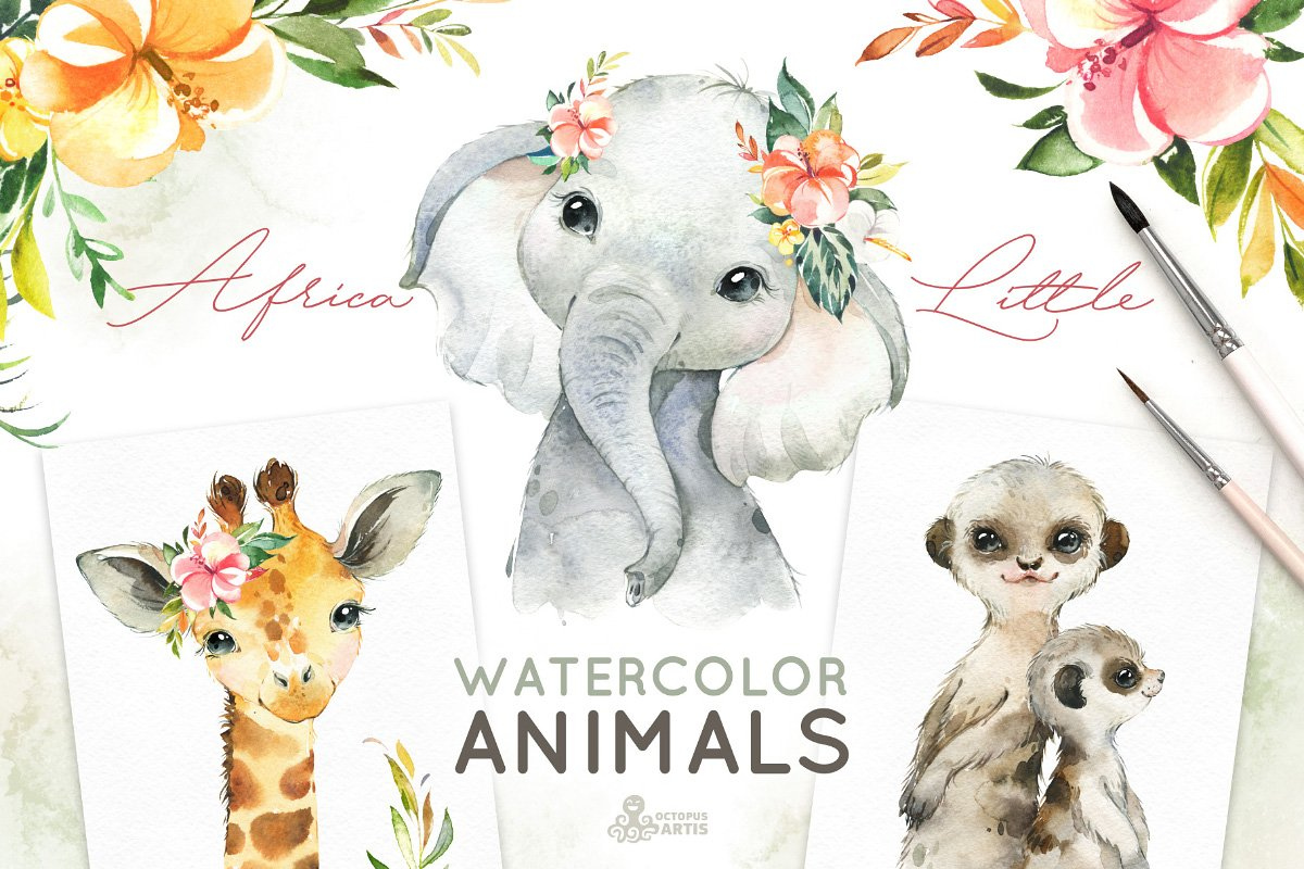 Africa. Little Watercolor Animals | Pre-Designed Photoshop Graphics ~  Creative Market