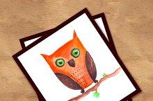 Owl, watercolor illustration