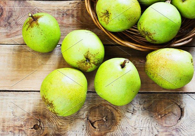 Fresh organic pears on old wood. Pear autumn harvest - Food & Drink