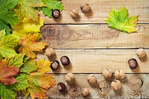 Autumn leaves nuts and chestnuts over old wooden background