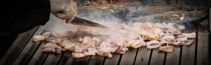 squid and fish grill. food on the st - Food & Drink